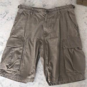 Used Vans Cargo Shorts Dark Tan Sz 32